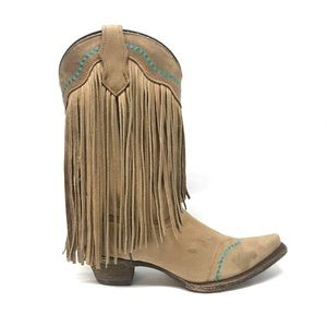 Corral Leather Fringe Boots Size 7